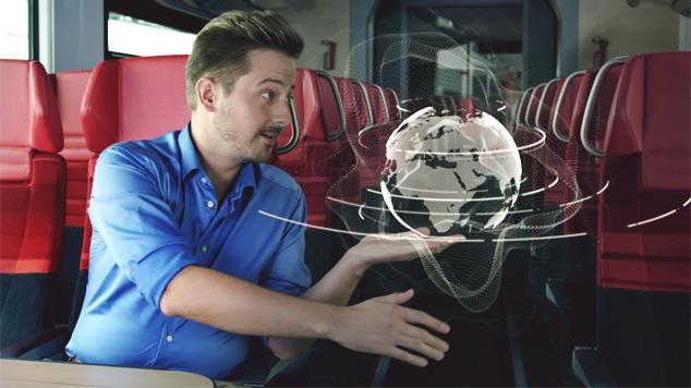 Helbling Spirit in einem Personenzug, interagiert mit 3D-Objekt